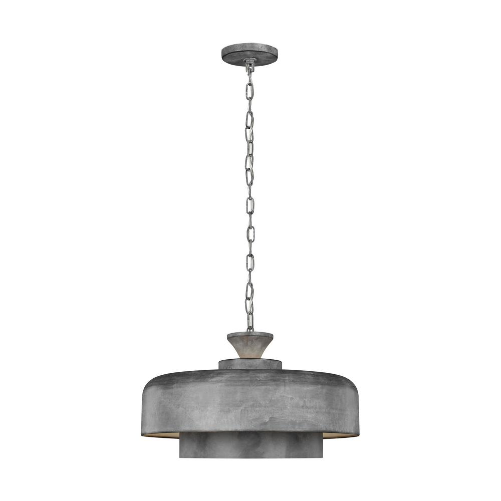 Generation Lighting Designer Collections Ed Ellen Degeneres Crafted By Haymarket 1 Light Weathered Galvanized Pendant With White