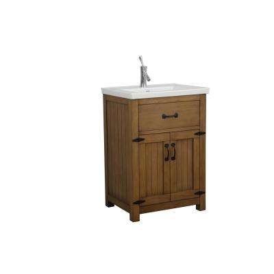 24 in. W x 18 in. D x 34 in. H Vanity in Gray with Ceramic Vanity Top in White with White Basin