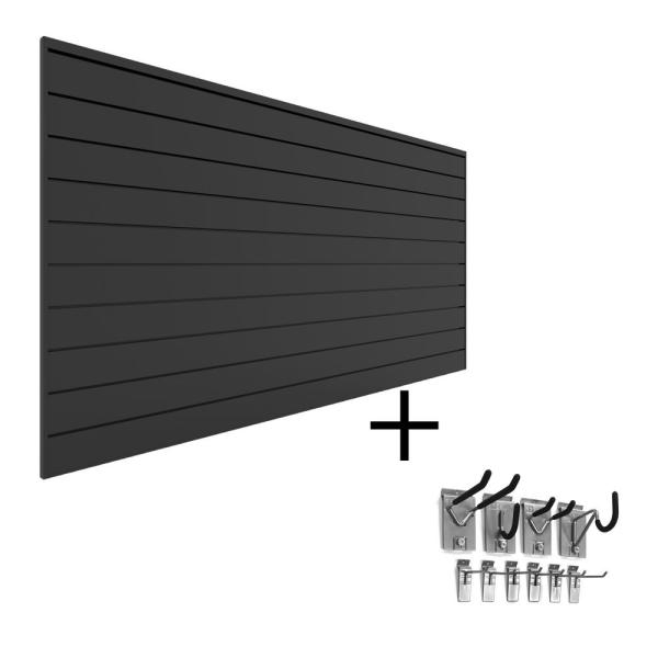 PVC Slatwall 8 ft. x 4 ft. Charcoal Mini Bundle (20-Piece)