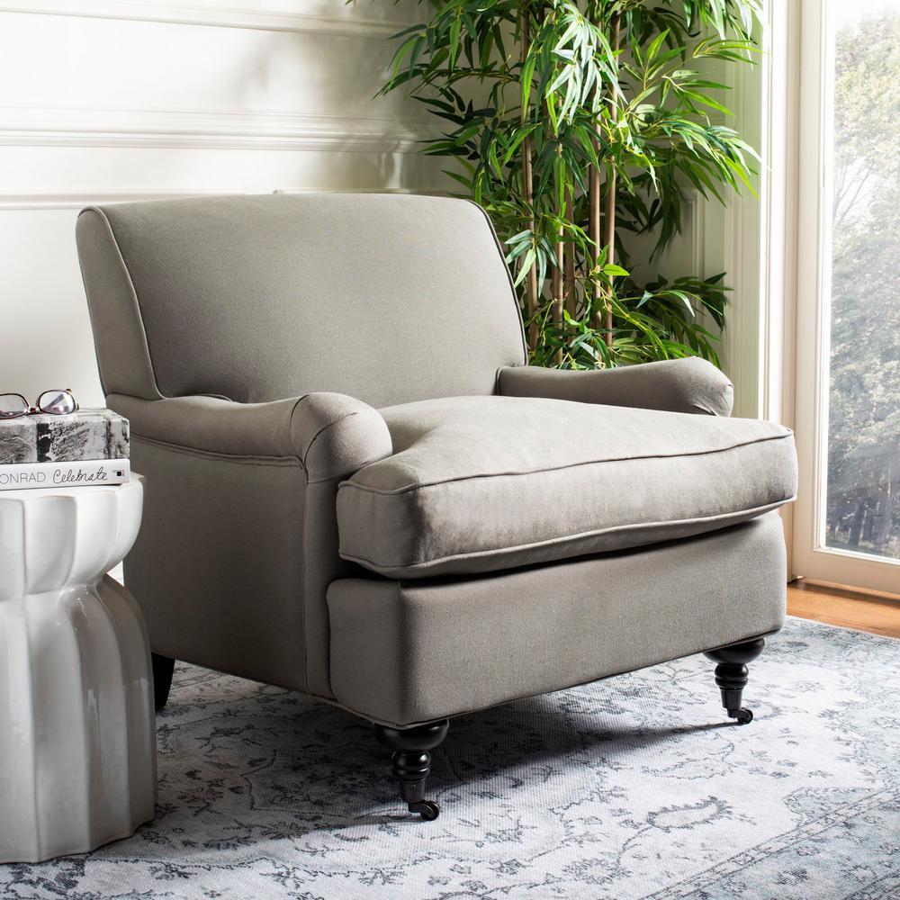 Chloe Sea Mist Blue/Java Linen Club Arm Chair