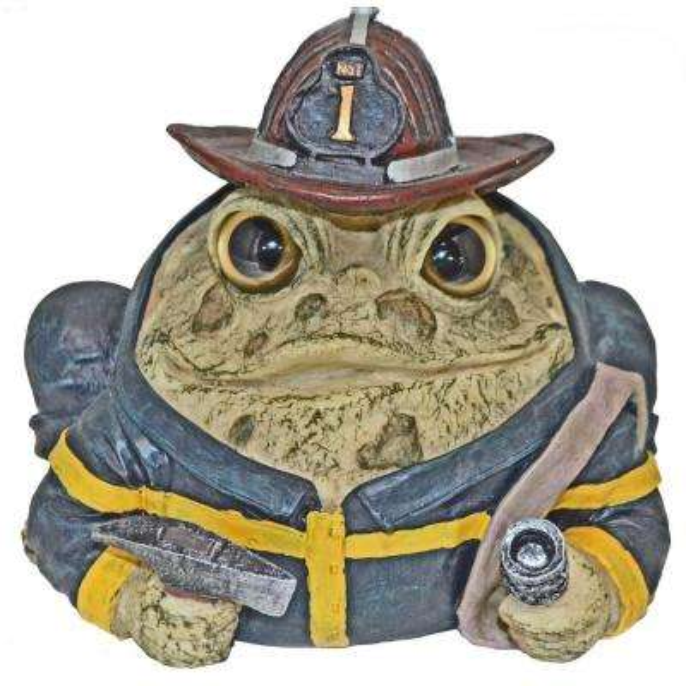 8.5 in. Toad Fireman Garden Statue