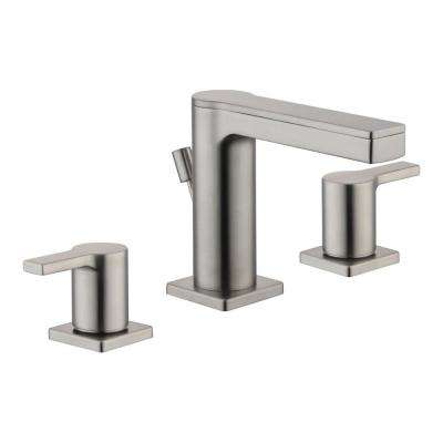 Modern Contemporary 8 in. Widespread 2-Handle Low-Arc Bathroom Faucet in Brushed Nickel