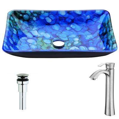 Voce Series Deco-Glass Vessel Sink in Lustrous Blue with Harmony Faucet in Brushed Nickel