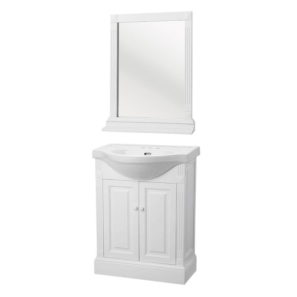 Home Decorators Collection Rno 25 In W Bath Vanity White With Porcelain Top And Mirror