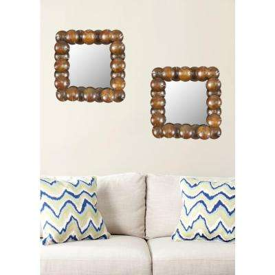 Round Cup 20.1 in. x 20.1 in. Iron and Glass Framed Mirror