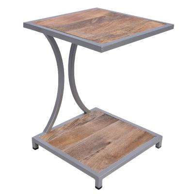 Brown and Gray Plank Style Mango Wood End Table with Metal Framing and Open Shelf