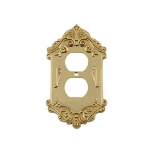 Nostalgic Warehouse Victorian Switch Plate with Outlet in Polished Brass by Nostalgic Warehouse