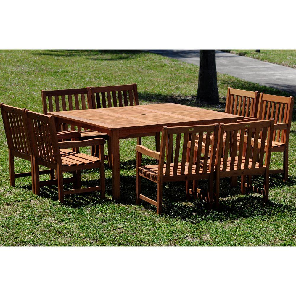 Ia Milano Deluxe 9 Piece Eucalyptus Wood Square Patio Dining Rh Homedepot Com Outdoor Table That Seats 8 Seat Sets