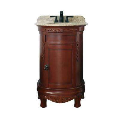 Rivington 22 in. W x 20 in. D Bath Vanity in Dark Cherry with Granite Vanity Top in Speckled Beige with White Basin