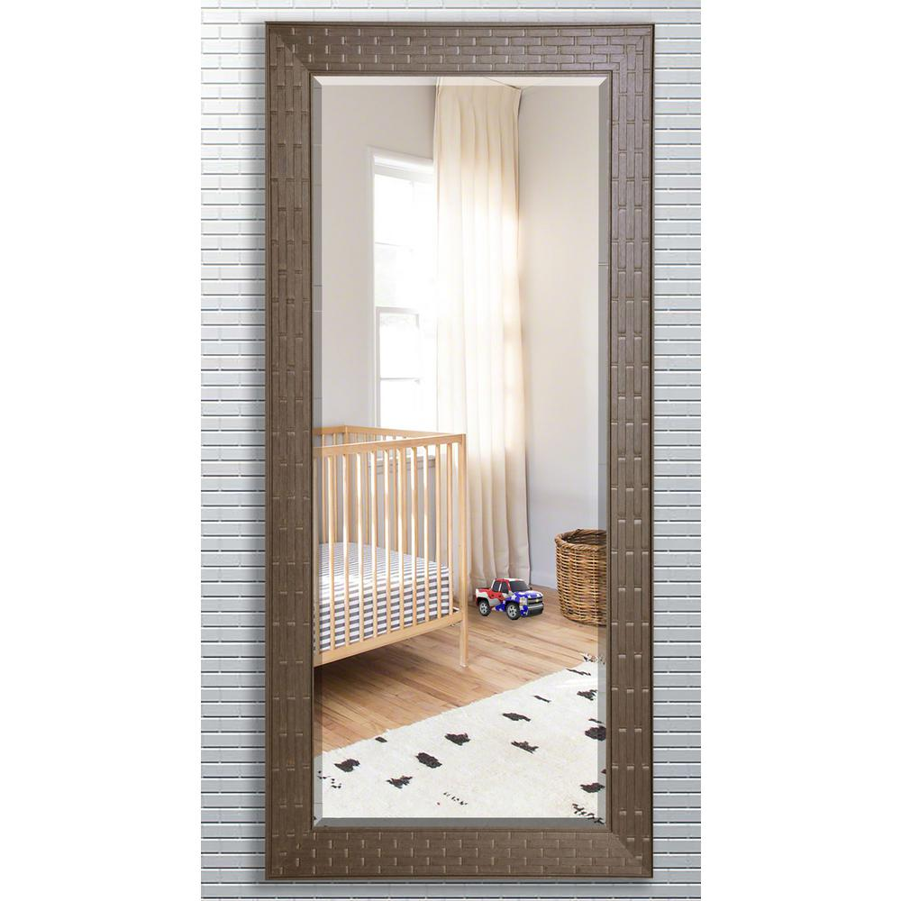 29.5 in. x 70 in. Espresso Bricks Beveled Oversized Full Body