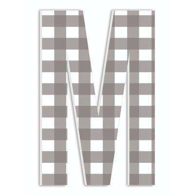 """12 in. x 18 in. """"Farmhouse Gingham Patterned Initial M"""" by Artist Daphne Polselli Wood Wall Art"""