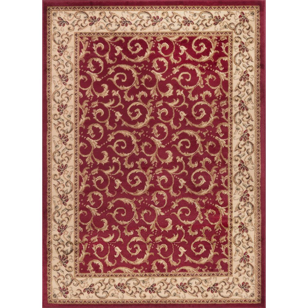 Tayse Rugs Elegance Red 7 Ft 6 In X 9 Ft 10 In Indoor