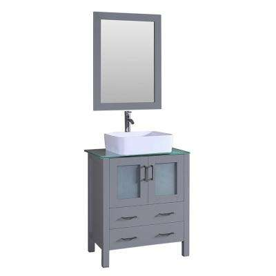30 in. W Single Bath Vanity with Tempered Glass Vanity Top in Green with White Basin and Mirror