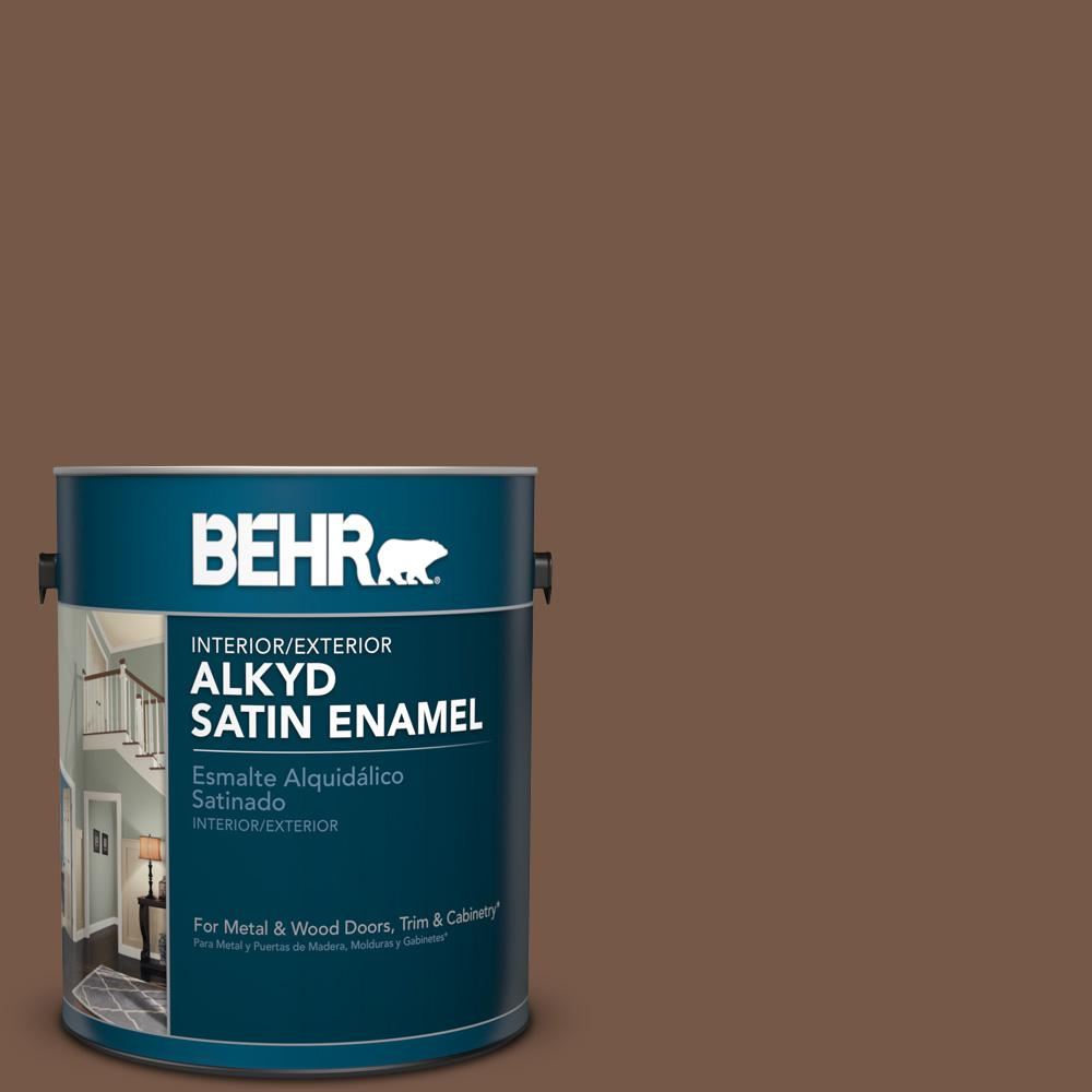 1 gal. #N250-7 Mission Brown Satin Enamel Alkyd Interior/Exterior Paint