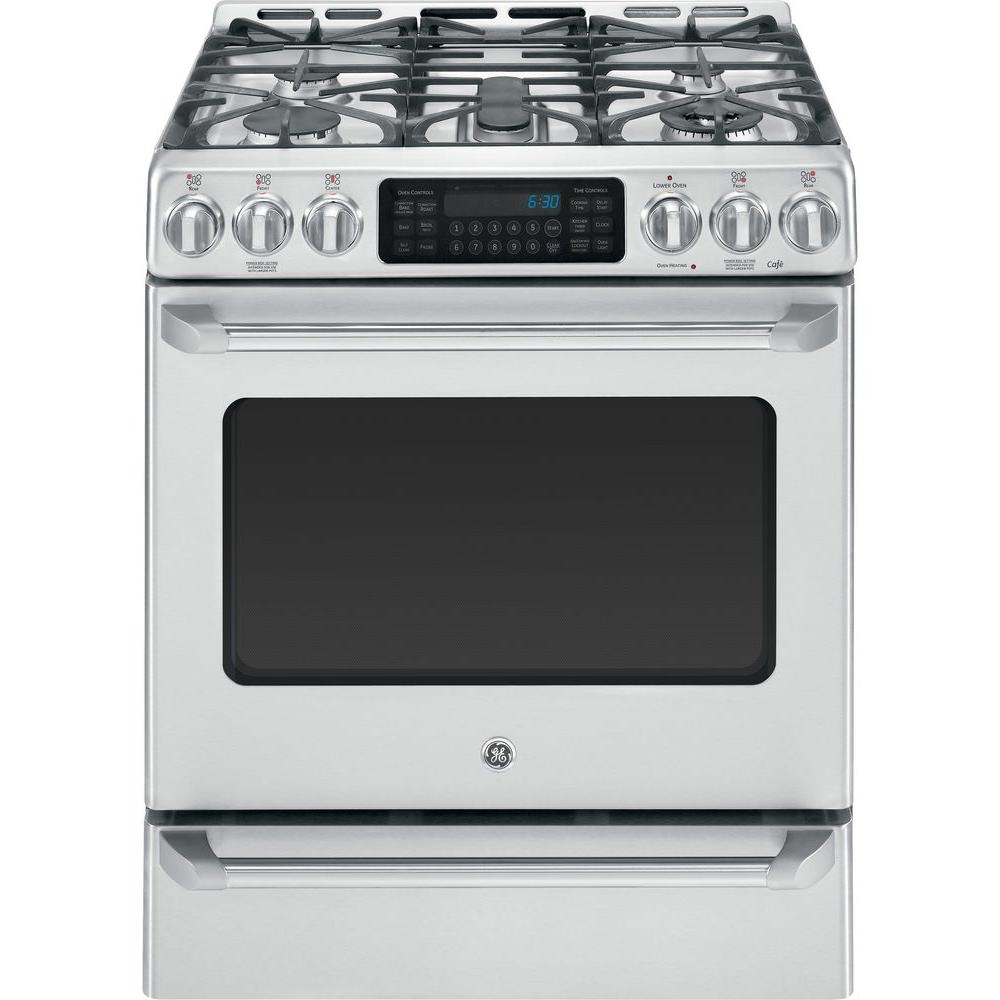 GE Cafe 5.4 cu. ft. Dual Fuel Range with Self-Cleaning Convection Oven in Stainless Steel