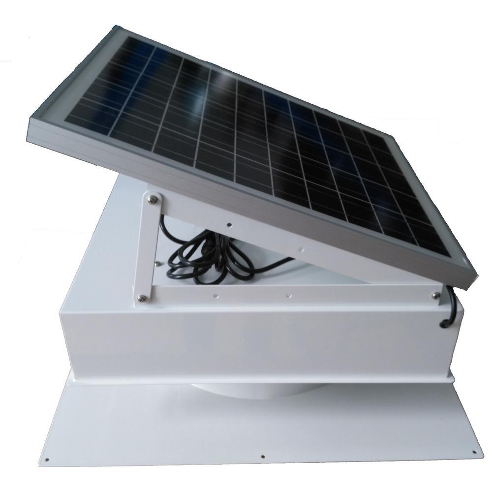 40-Watt 1875 CFM White Commercial Solar Powered Attic Fan