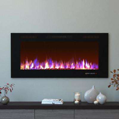 Bliss 50 in. Crystal Recessed Touch Screen Multi-Color Built-In Electric Fireplace in Black