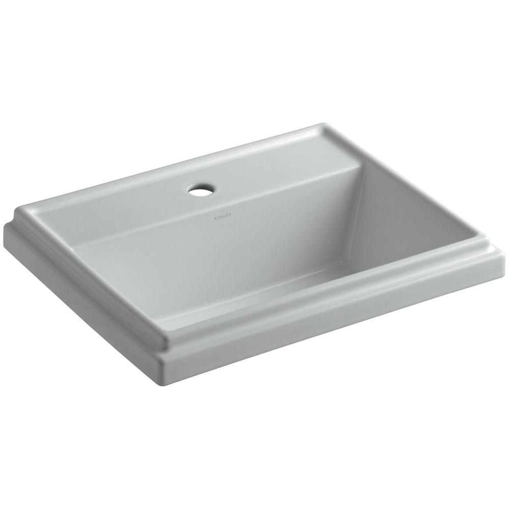 Kohler Tresham Drop In Vitreous China Bathroom Sink In Ice Grey With Overflow Drain K 2991 1 95