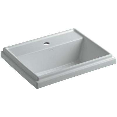 Tresham Drop-In Vitreous China Bathroom Sink in Ice Grey with Overflow Drain