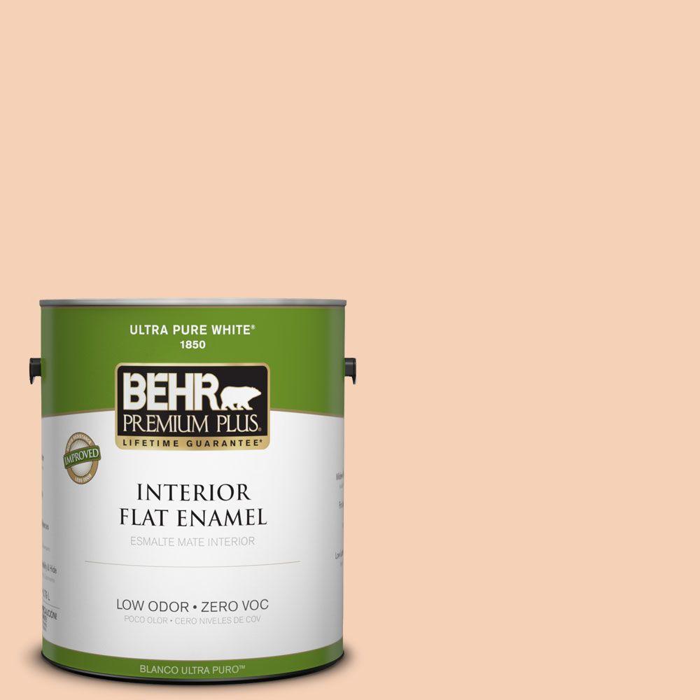 BEHR Premium Plus 1-gal. #280C-2 Serene Peach Zero VOC Flat Enamel Interior Paint-DISCONTINUED