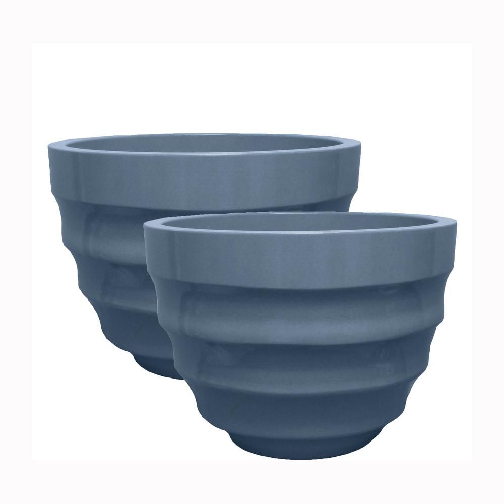 Athena 20 in. Dia Dusty Blue Resin Decorative Planter (2-Pack)
