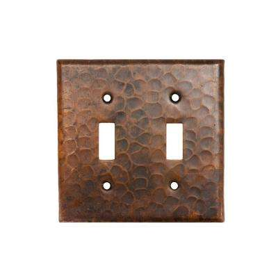 2 Gang Hammered Copper Toggle Switch Plate, Oil Rubbed Bronze (Quantity 2)