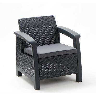 Bahamas Gary All-Weather Resin Wicker  Patio Lounge Chair with Gray Cushion
