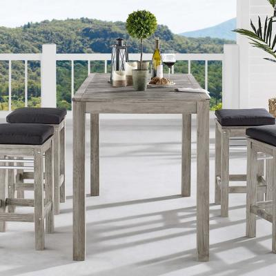 Wiscasset Acacia Wood Bar Height Outdoor Dining Table in Light Gray