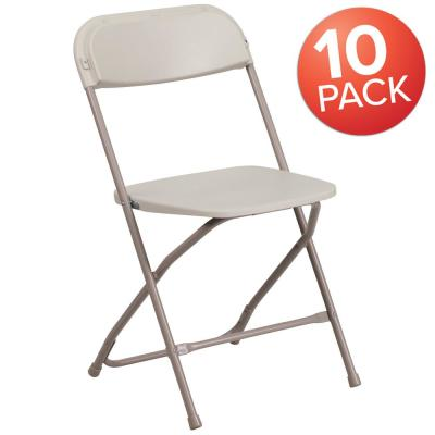 Phenomenal Beige Metal Stackable Folding Chair Sc004X001A The Home Depot Andrewgaddart Wooden Chair Designs For Living Room Andrewgaddartcom