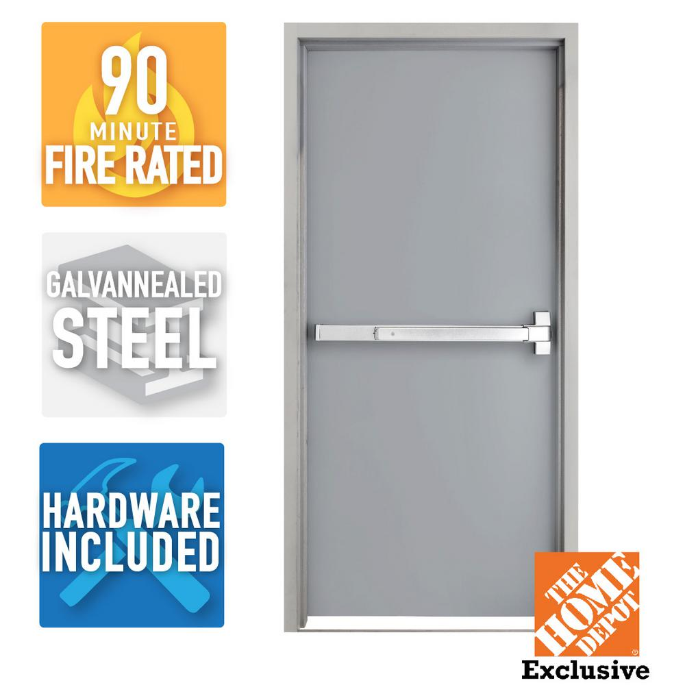 36 in. x 80 in. Fire-Rated Gray Left-Hand Flush Steel Prehung