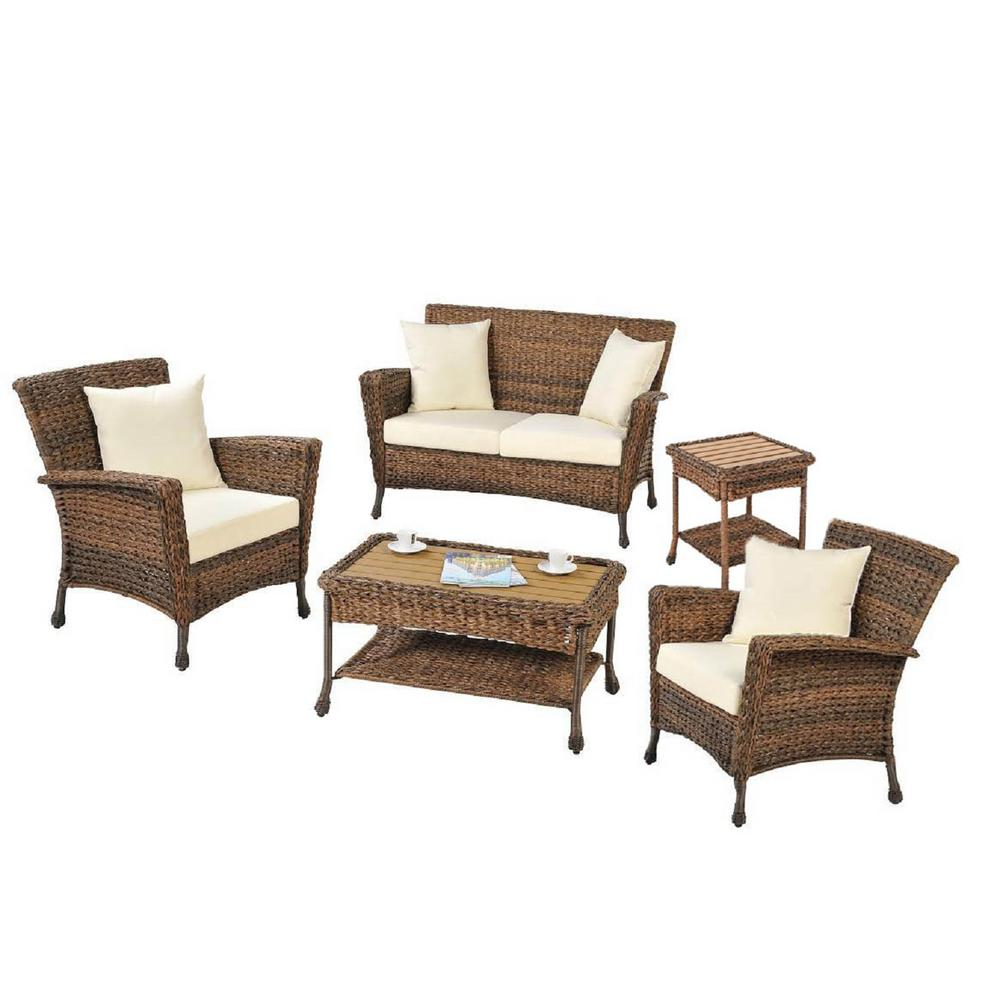 Delicieux W Unlimited Rustic 5 Piece Wicker Patio Conversation Set With Beige Cushions