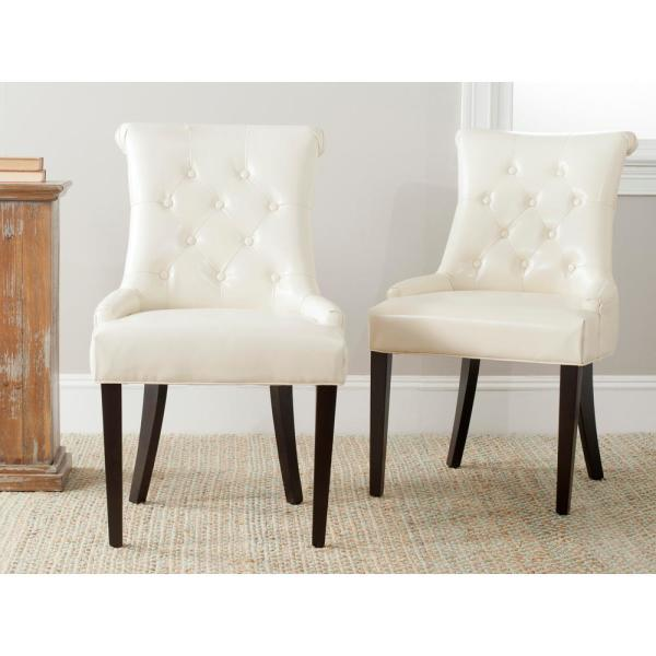 Safavieh Bowie Cream/Espresso Bicast Leather Side Chair (Set of 2) MCR4712C-SET2