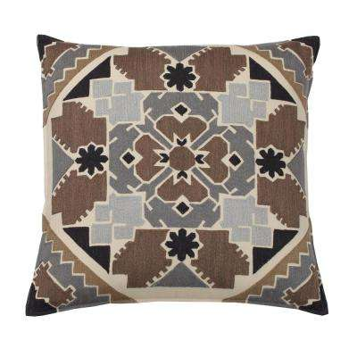 Embroidered Decorative Pillow Cover in Neutral Mosaic, 26 in. x 26 in.