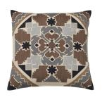 Embroidered Neutral Mosaic 26 in. x 26 in. Decorative Throw Pillow Cover