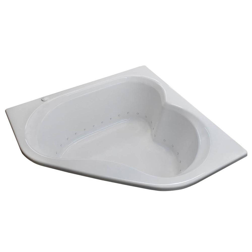 Beryl 5 ft. Acrylic Corner Drop-in Air Bathtub in White