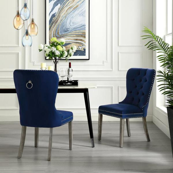 Inspired Home Nevaeh Navy Velvet Ring Handle Nailhead Dining Chair (Set