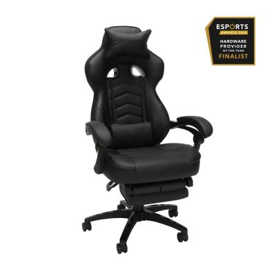110 Racing Style Gaming Chair, Reclining Ergonomic Leather Chair with Footrest, in Black (RSP-110-BLK)