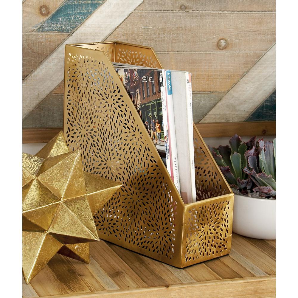 Gold Perforated-Designed Freestanding Magazine Holder
