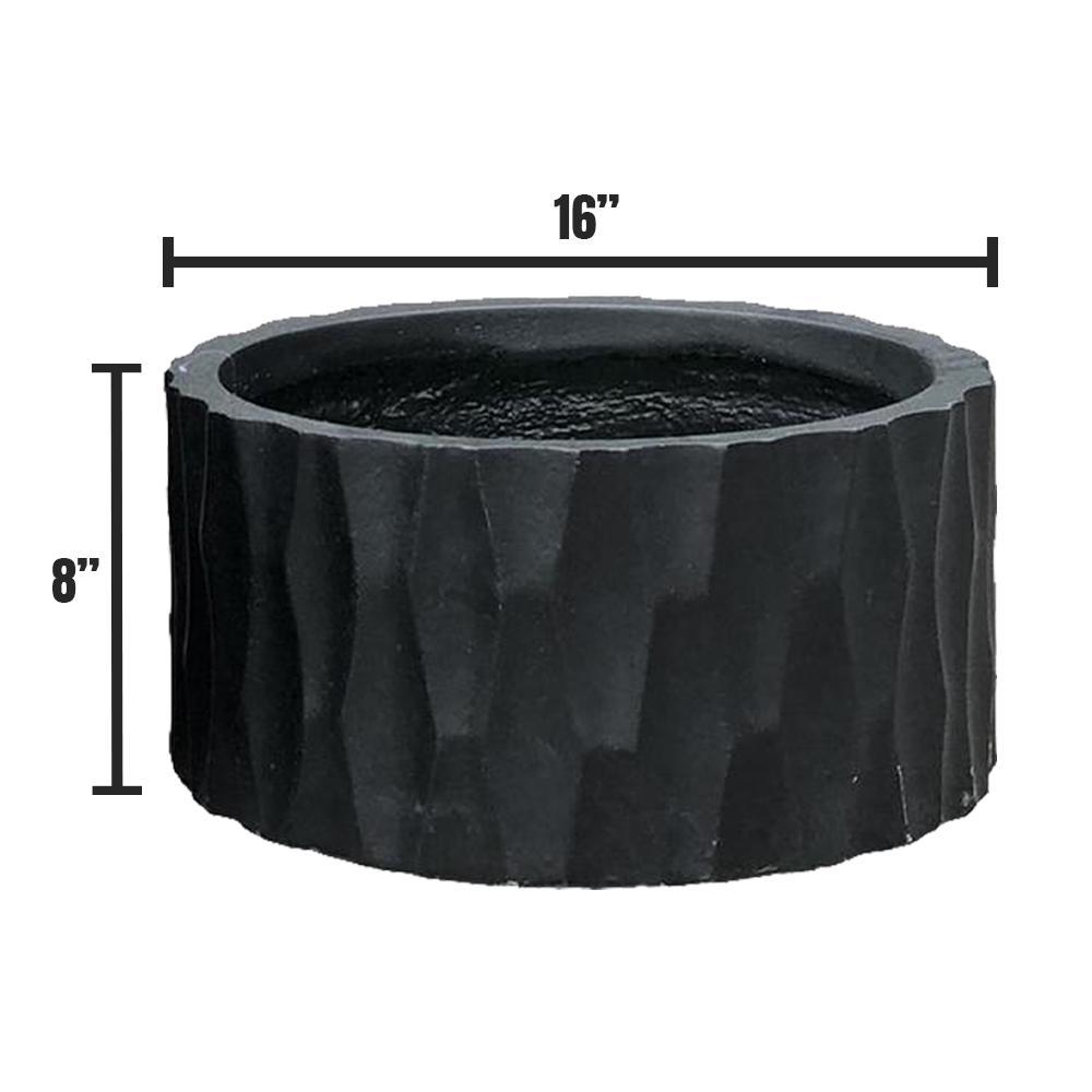Large 15.7 in. x 15.7 in. x 7.9 in. Black Lightweight Concrete Retro Low Round Planter