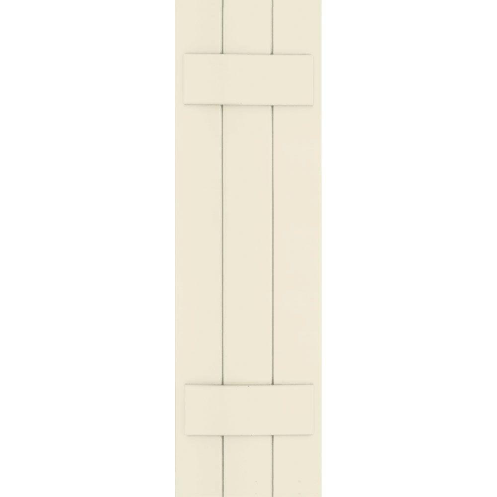 Winworks Wood Composite 12 in. x 41 in. Board & Batten Shutters Pair #651 Primed/Paintable