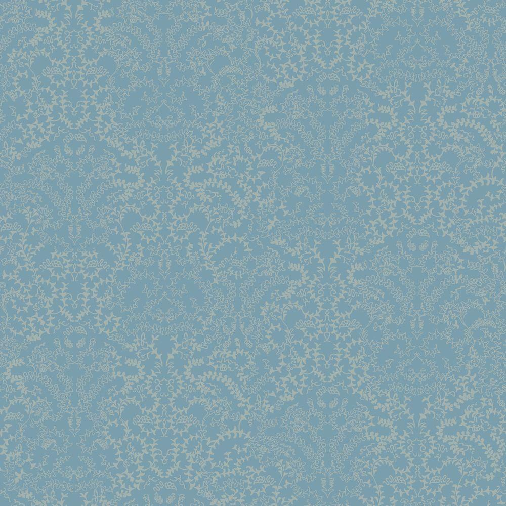 The Wallpaper Company 8 in. x 10 in. Blue Modern Lace Damask Effect with Metallic Accents Wallpaper Sample
