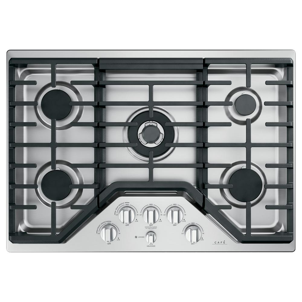 Cafe 30 in. Gas Cooktop in Stainless Steel and Brushed Stainless with 5 Burners Including 20,000 BTU Triple Ring Burner
