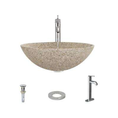 Stone Vessel Sink in Honed Basalt Tan Granite with 718 Faucet and Pop-Up Drain in Chrome