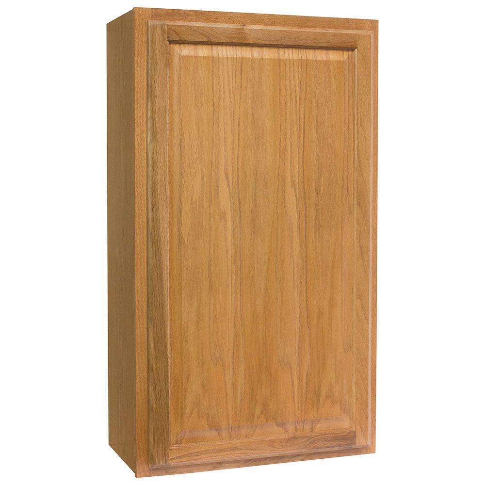 Hampton Assembled 24x42x12 in. Wall Kitchen Cabinet in Medium Oak