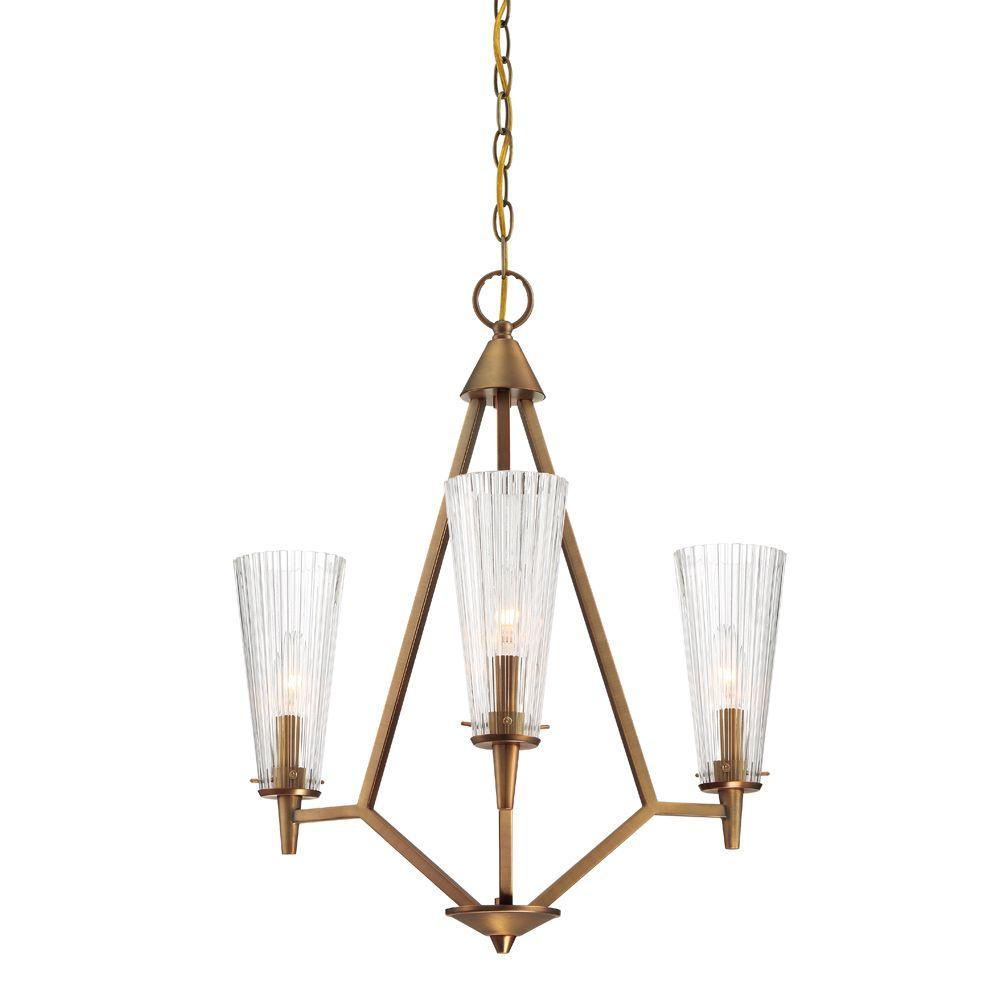 Montelena 3-Light Old Satin Brass Interior Chandelier