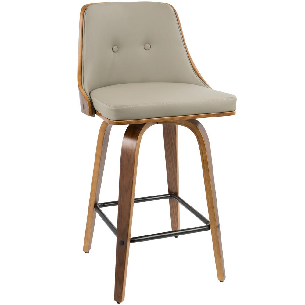 Walnut Wood And Light Grey Faux Leather Counter Stool