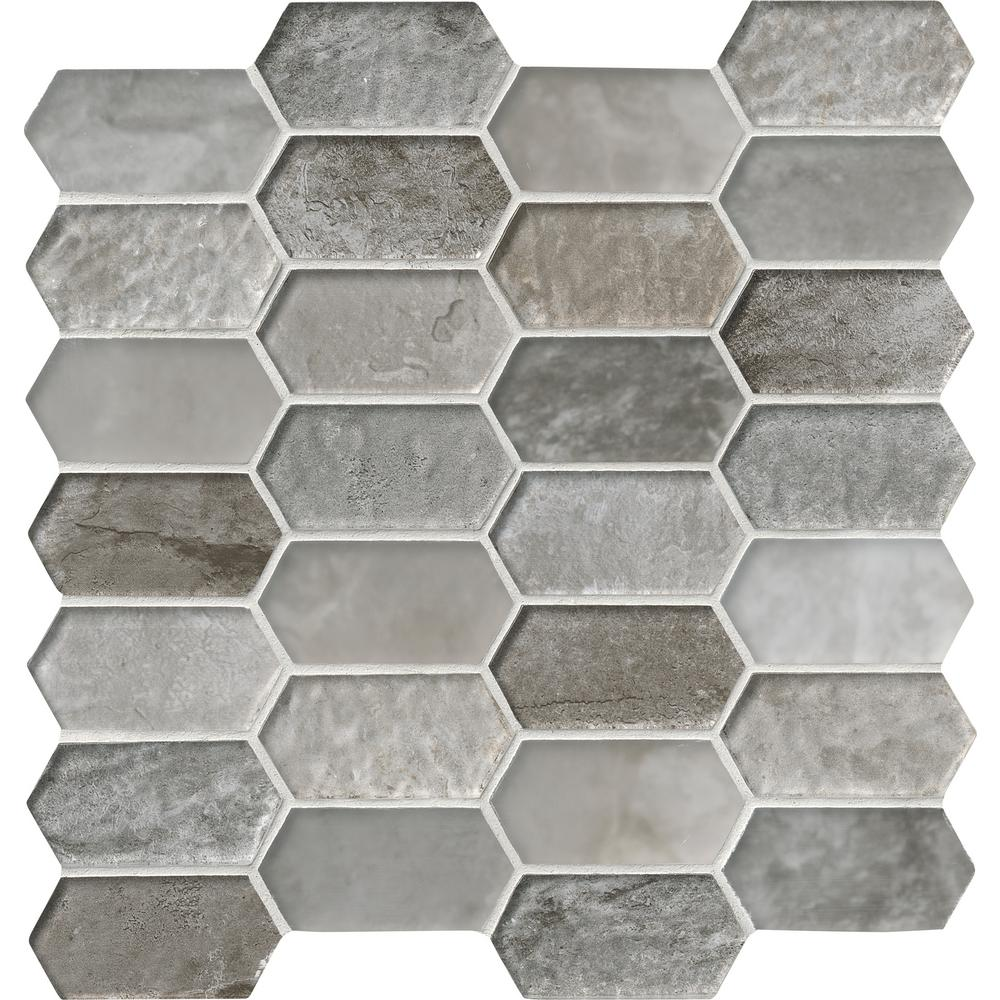 MSI Savoy Picket Pattern 12 in. x 12 in. x 8 mm Glass Mesh-Mounted ...