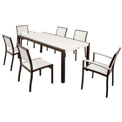 Surf City Textured Bronze 7-Piece Plastic Outdoor Patio Dining Set with Classic White Slats