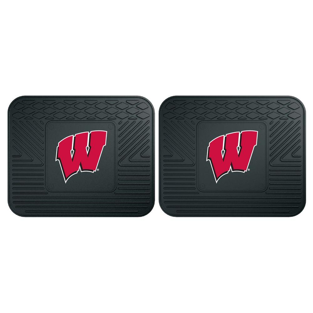 NCAA University of Wisconsin Black Heavy Duty 2-Piece 14 in. x