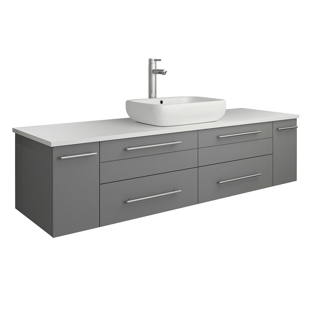 Fresca Lucera 60 in. W Wall Hung Bath Vanity in Gray with Quartz Stone Vanity Top in White with White Basin